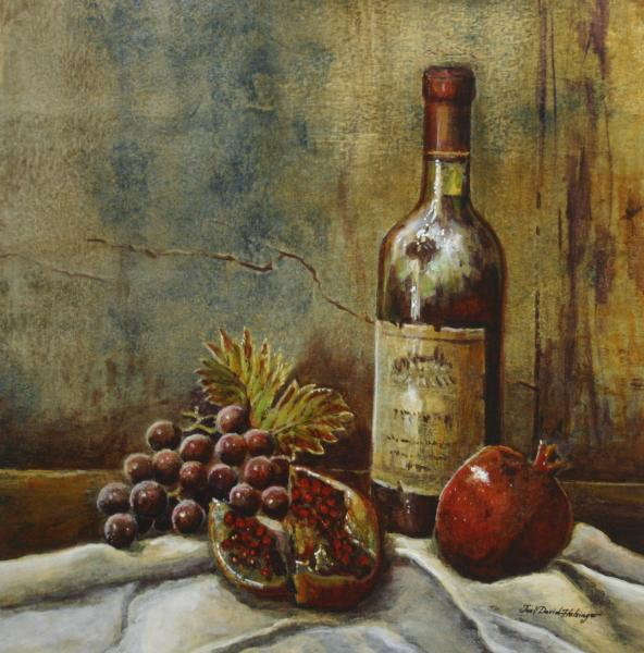 Wine and Fruit Still Life Painting